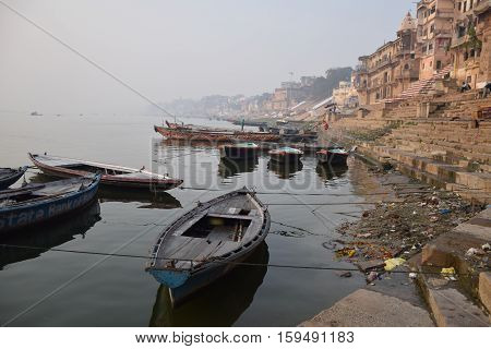 VARANASI, UTTAR PRADESH, INDIA - FEBRUARY 17 - Boats on river Ganga