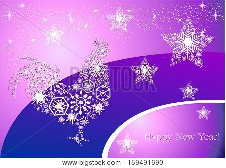 Year of the rooster. New Year's on trendy purple-pink background morning. Pattern of snowflakes and stars