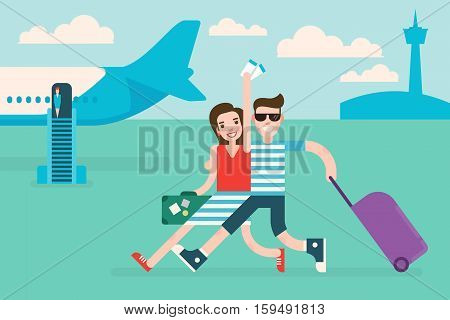 Couple tourists traveling by airplane. Woman holds air tickets in hand.