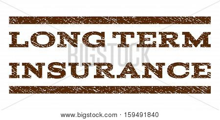 Long Term Insurance watermark stamp. Text caption between horizontal parallel lines with grunge design style. Rubber seal brown stamp with dust texture. Vector ink imprint on a white background.