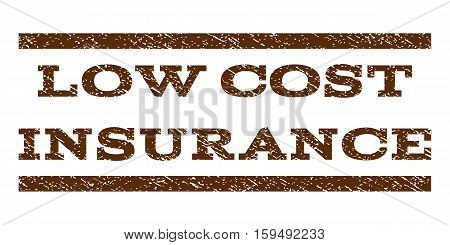 Low Cost Insurance watermark stamp. Text tag between horizontal parallel lines with grunge design style. Rubber seal brown stamp with dirty texture. Vector ink imprint on a white background.
