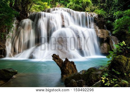 Huay MaeKamin Waterfall is beautiful waterfall in tropical forest Kanchanaburi province Thailand.
