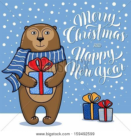 Merry Christmas and Happy New Year greeting card with monkey, gifts, snow and lettering, cartoon vector illustration. Christmas and New Year card, invitation, poster, banner design with a monkey