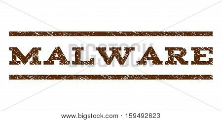Malware watermark stamp. Text caption between horizontal parallel lines with grunge design style. Rubber seal brown stamp with dust texture. Vector ink imprint on a white background.