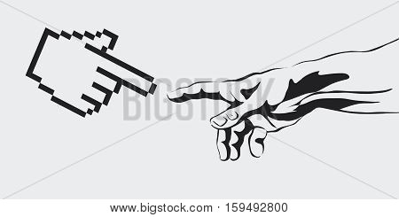vector concept of the creation of the Internet, virtual reality, artificial intelligence, Artificial Intelligence concept copy space area. human hand reaches for a computer hand.