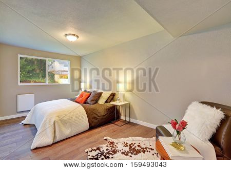 Bedroom Interior In White And Brown Color Combination