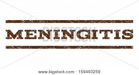 Meningitis watermark stamp. Text caption between horizontal parallel lines with grunge design style. Rubber seal brown stamp with dust texture. Vector ink imprint on a white background.