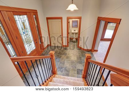 Entryway Interior With Luxury Stained Glass Door