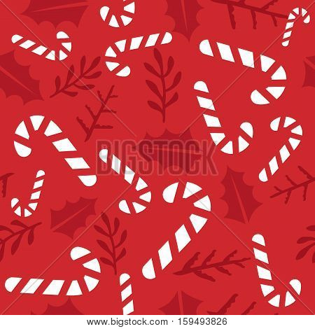 Vintage Merry Christmas And Happy New Year seamless pattern background. candies sprigs and leaves stylish vector winter seamless pattern. Good for cards posters and banner design