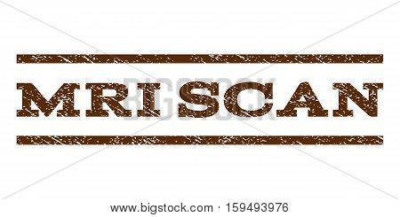 MRI Scan watermark stamp. Text tag between horizontal parallel lines with grunge design style. Rubber seal brown stamp with scratched texture. Vector ink imprint on a white background.