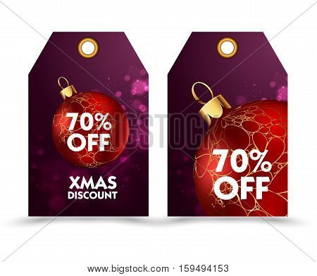 Set of price tag with decoration ball or labels. special price, holiday discount. Christmas discount. Vector Illustration.