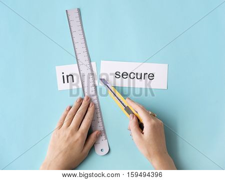 Insecure Unsafe Hands Cut Split Word Concept