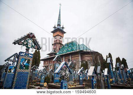 Sapanta Romania - November 17 2016: Image of the graveyard in Sapanta Romania called