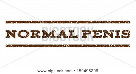 Normal Penis watermark stamp. Text caption between horizontal parallel lines with grunge design style. Rubber seal brown stamp with scratched texture. Vector ink imprint on a white background.
