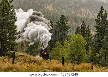 A Steam Locomotive Train in the Okanagan Valley near Summerland British Columbia Canada