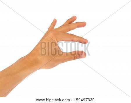 Using hand gestures catch or take thing