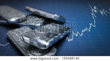 3D illustration of silver bullion bars over a blue background with growing chart. Commodities investment concept horizontal image.