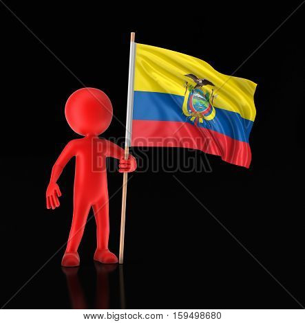 3D Illustration. Man and Ecuadorian flag. Image with clipping path