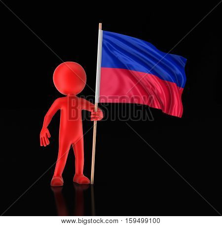 3D Illustration. Man and Haitian flag. Image with clipping path