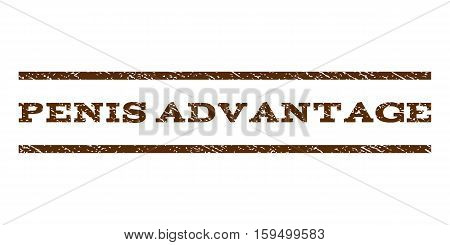 Penis Advantage watermark stamp. Text tag between horizontal parallel lines with grunge design style. Rubber seal brown stamp with dust texture. Vector ink imprint on a white background.
