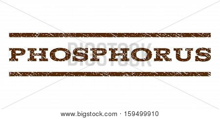 Phosphorus watermark stamp. Text caption between horizontal parallel lines with grunge design style. Rubber seal brown stamp with dirty texture. Vector ink imprint on a white background.