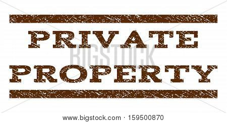 Private Property watermark stamp. Text tag between horizontal parallel lines with grunge design style. Rubber seal brown stamp with dust texture. Vector ink imprint on a white background.