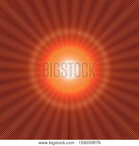 red halo effect with shiny rays and bright light in the center