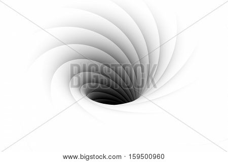 black hole white background vortex 3d illustration