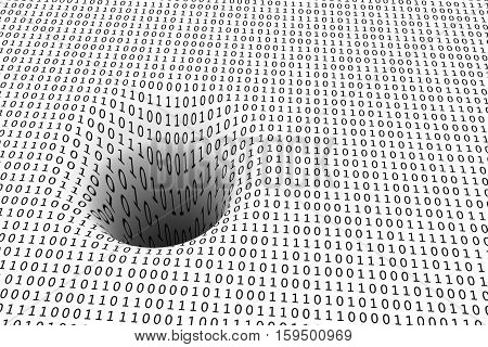 black hole in a binary code 3D illustration