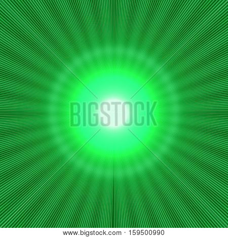 green halo effect with shiny rays and bright light in the center