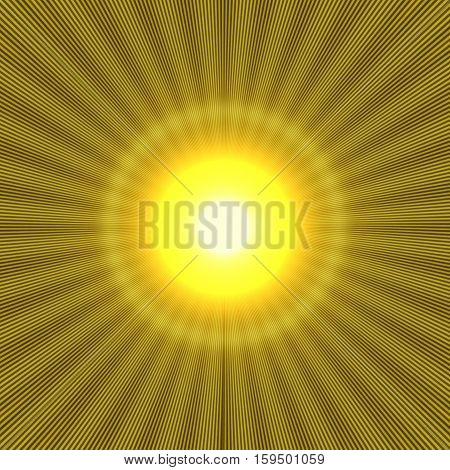 yellow halo effect with shiny rays and bright light in the center