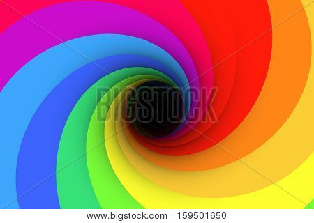 black hole multicolored  rainbow background yellow 3d illustration