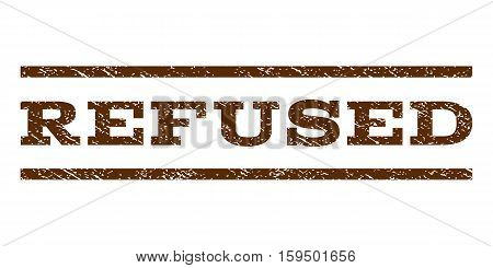 Refused watermark stamp. Text tag between horizontal parallel lines with grunge design style. Rubber seal brown stamp with dust texture. Vector ink imprint on a white background.