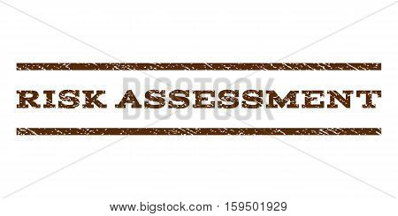 Risk Assessment watermark stamp. Text caption between horizontal parallel lines with grunge design style. Rubber seal brown stamp with dirty texture. Vector ink imprint on a white background.