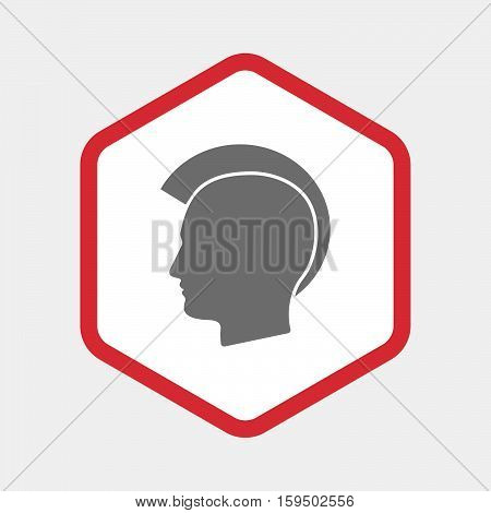 Isolated Hexagon With  A Male Punk Head Silhouette