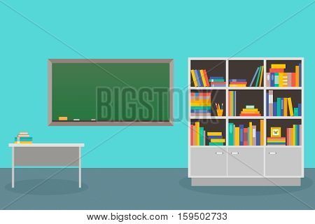 The interior is class with a cupboard for books school Board and teacher's Desk. Vector illustration.