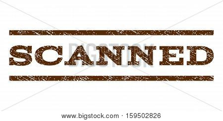 Scanned watermark stamp. Text caption between horizontal parallel lines with grunge design style. Rubber seal brown stamp with unclean texture. Vector ink imprint on a white background.