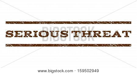 Serious Threat watermark stamp. Text tag between horizontal parallel lines with grunge design style. Rubber seal brown stamp with dirty texture. Vector ink imprint on a white background.