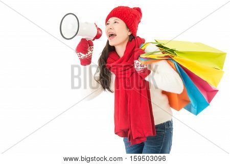 Woman Holding Loud Megaphone Call For Winter Sale