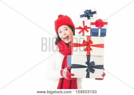 Beautiful Woman Holding Christmas Gifts Happy And Excited