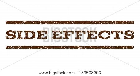 Side Effects watermark stamp. Text caption between horizontal parallel lines with grunge design style. Rubber seal brown stamp with dust texture. Vector ink imprint on a white background.