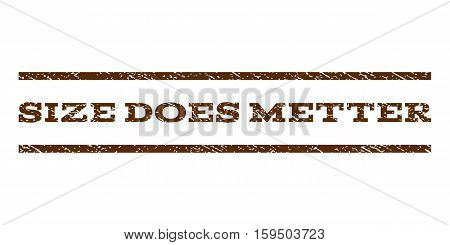 Size Does Metter watermark stamp. Text caption between horizontal parallel lines with grunge design style. Rubber seal brown stamp with dirty texture. Vector ink imprint on a white background.