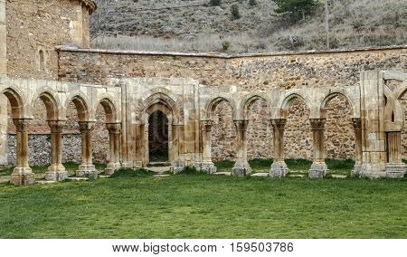 Intersecting arches in the courtyard of the Monastery of San Juan de Duero in Soria
