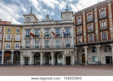 Burgos Spain - August 29 2016: Town hall of the city with porticoed arches to be able to join the square with the promenade