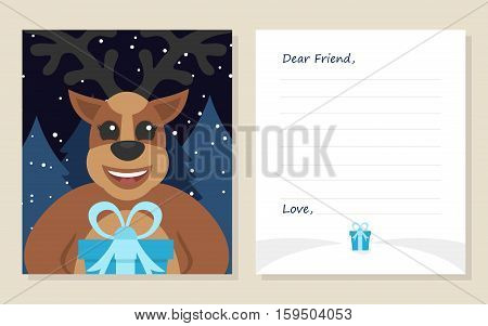 Template greeting card New year's or Merry Christmas letter to Dear Friend . Cute deer with gift. Vector illustration. Modern flat design.