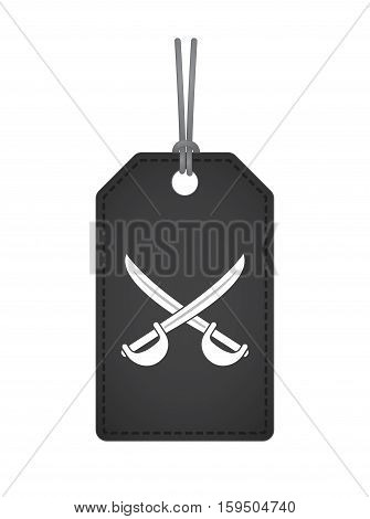 Isolated Label With  Two Swords Crossed