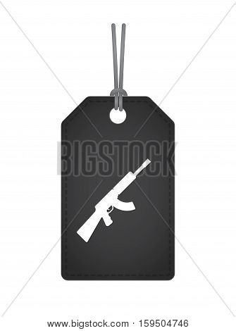 Isolated Label With  A Machine Gun Sign