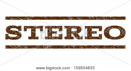 Stereo watermark stamp. Text tag between horizontal parallel lines with grunge design style. Rubber seal brown stamp with scratched texture. Vector ink imprint on a white background.