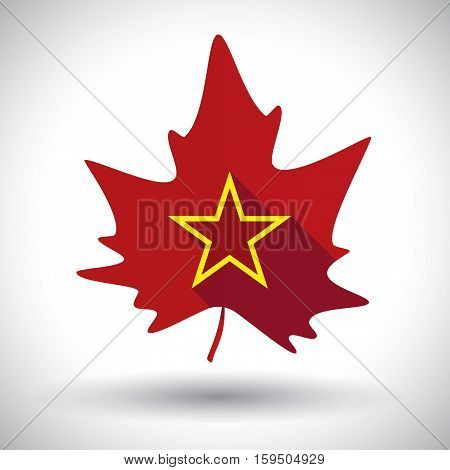 Isolated  Leaf With  The Red Star Of Communism Icon