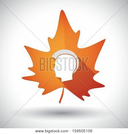 Isolated Orange Leaf With  A Male Punk Head Silhouette